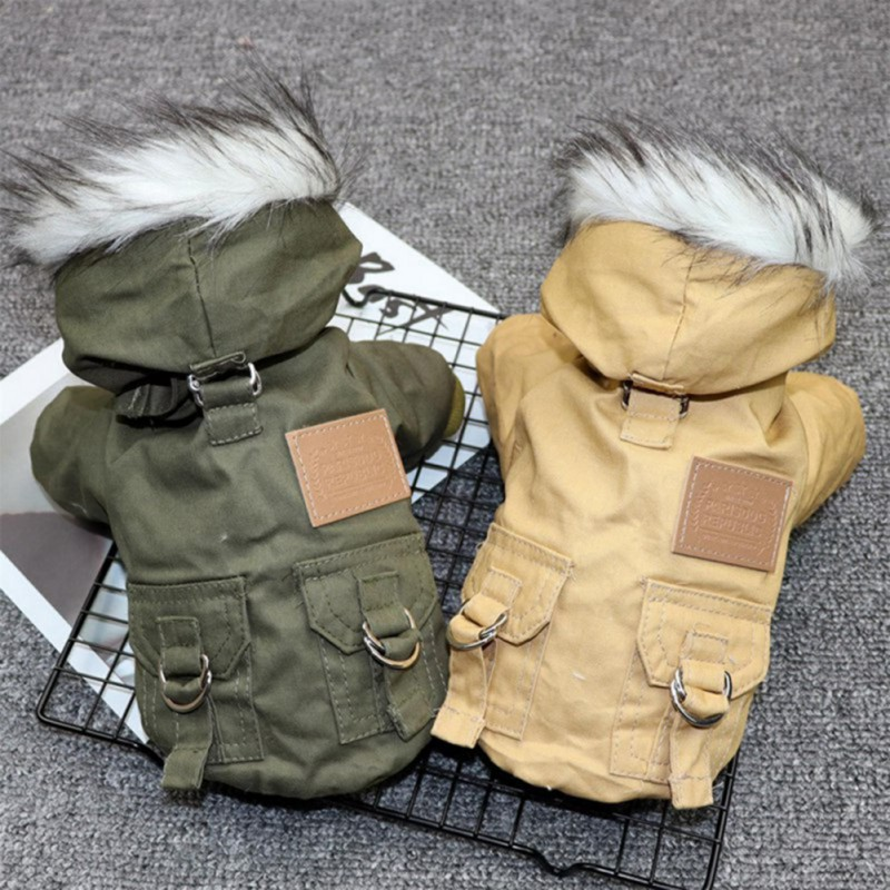 Winter Pet Dog Warm Hooded Coat Clothes Puppy Jumpsuit Jacke