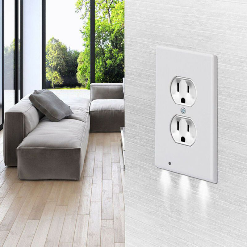 5× Round Duplex Wall Plate Outlet Cover w/ LED Night Lights